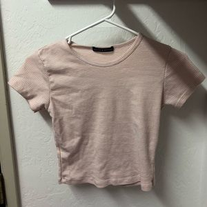 Never Worn Pink and White Striped Brandy Tee